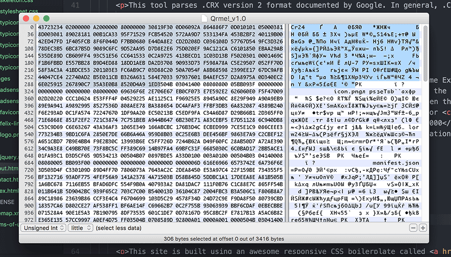 .crx file opened in the hex editor called HexFiend (on Mac)